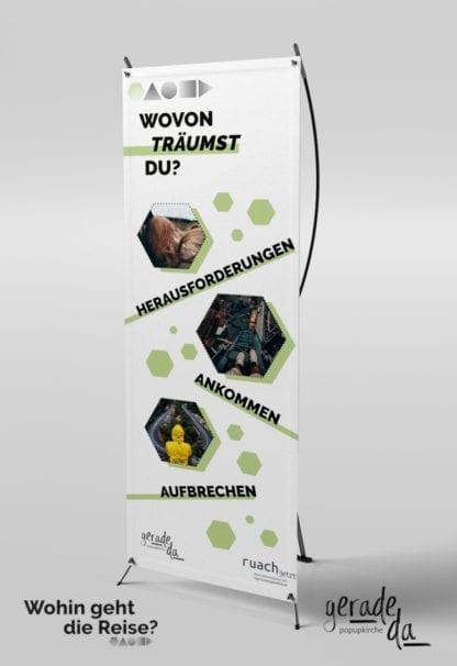 Banner: Wovon träumst Du? (geradeda popupkirche)